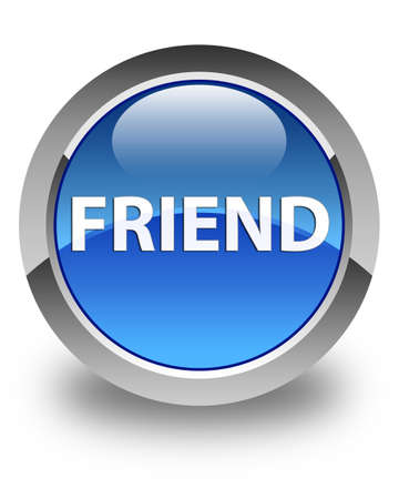 Friend isolated on glossy blue round button abstract illustration Reklamní fotografie