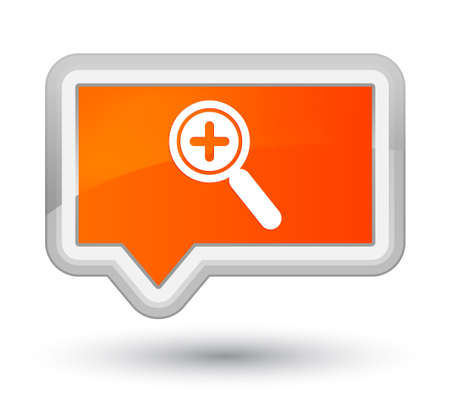 zoom: Zoom in icon isolated on prime orange banner button abstract illustration