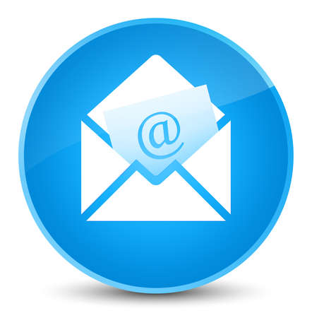 Newsletter email icon isolated on elegant cyan blue round button abstract illustration