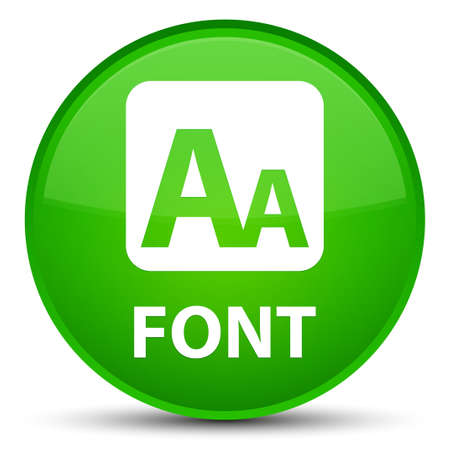 Font isolated on special green round button abstract illustration
