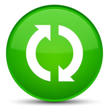 Aktualisieren Sie die Ikone, die auf spezieller grüner runder Knopfzusammenfassungsillustration lokalisiert wird