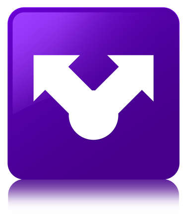 Share icon isolated on purple square button reflected abstract illustration