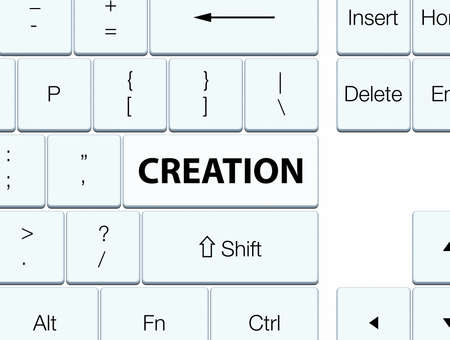 Creation isolated on white keyboard button abstract illustration