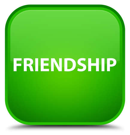 Friendship isolated on special green square button abstract illustration