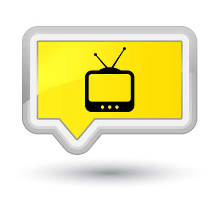 prime: TV  icon isolated on prime yellow banner button abstract illustration