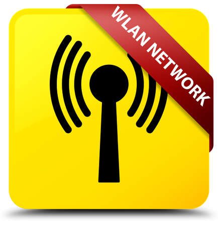 Wlan network isolated on yellow square button with red ribbon in corner abstract illustration Stock Photo