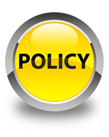 Policy isolated on glossy yellow round button abstract illustration
