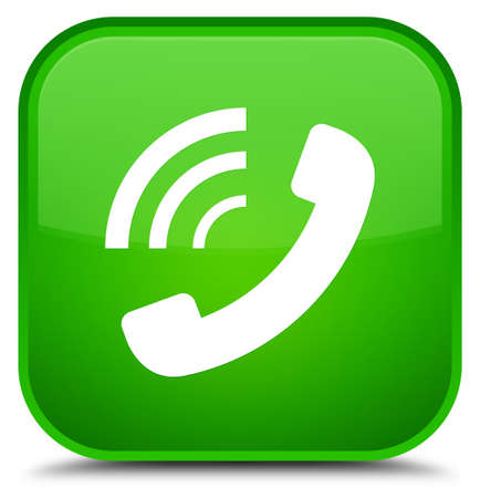 Phone ringing icon isolated on special green square button abstract illustration