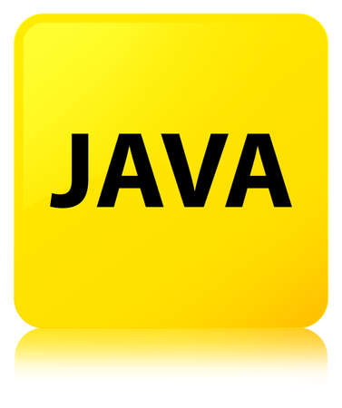 Java isolated on yellow square button reflected abstract illustration
