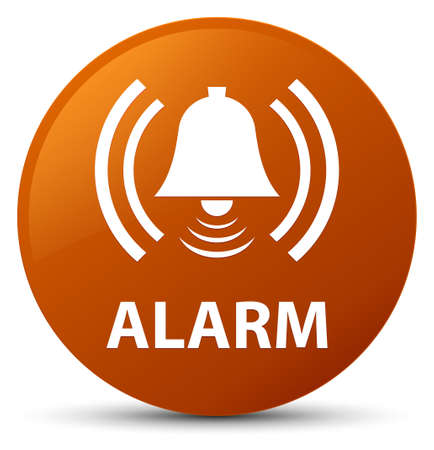 Alarm (bell icon) isolated on brown round button abstract illustration Stock Photo
