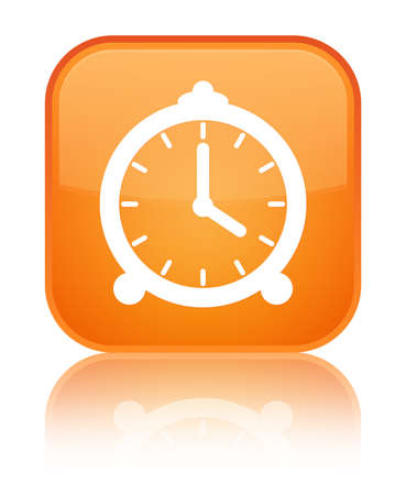Alarm clock icon isolated on special orange square button reflected abstract illustration Stock Photo