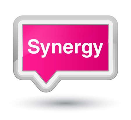 Synergie die op de eerste roze abstracte illustratie van de bannerknoop wordt geïsoleerd