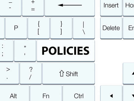 Policies isolated on white keyboard button abstract illustration Banco de Imagens