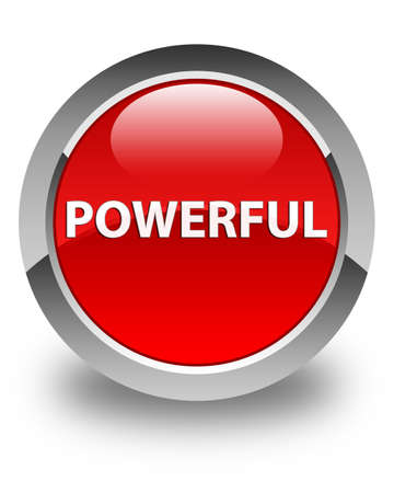 Powerful isolated on glossy red round button abstract illustration