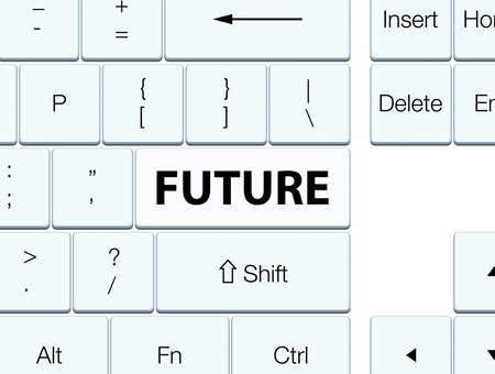 Future isolated on white keyboard button abstract illustration