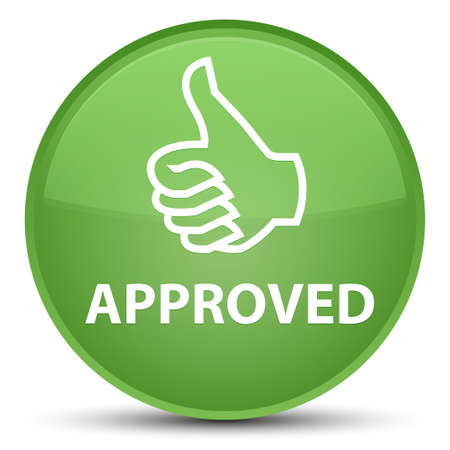 Approved (thumbs up icon) isolated on special soft green round button abstract illustration