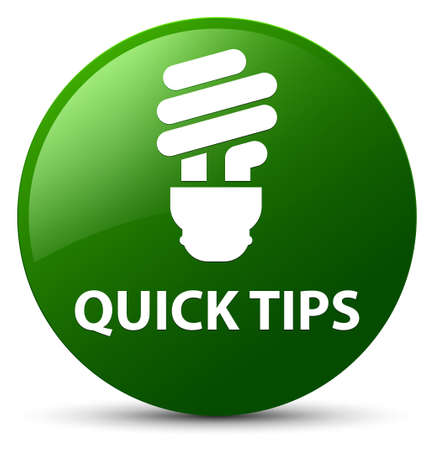 Quick tips (bulb icon) isolated on green round button abstract illustration