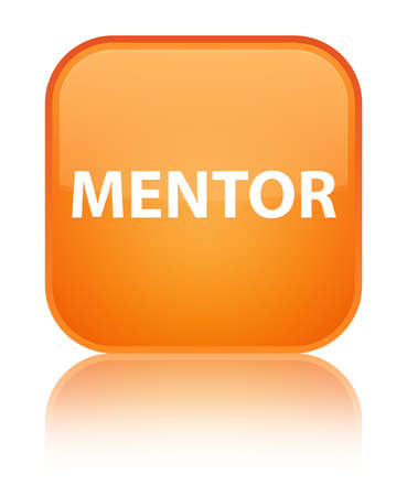 Mentor isolated on special orange square button reflected abstract illustration Stock Photo
