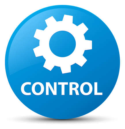 Control (settings icon) isolated on cyan blue round button abstract illustration Stock Photo