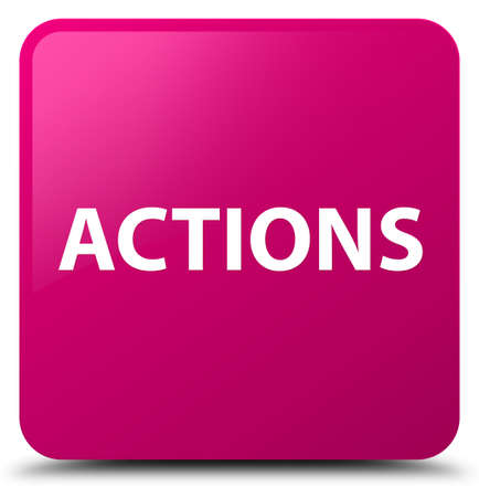 Actions isolated on pink square button abstract illustration
