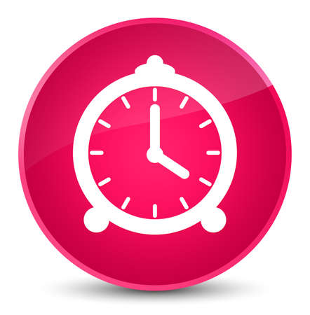 Alarm clock icon isolated on elegant pink round button abstract illustration Stock Photo