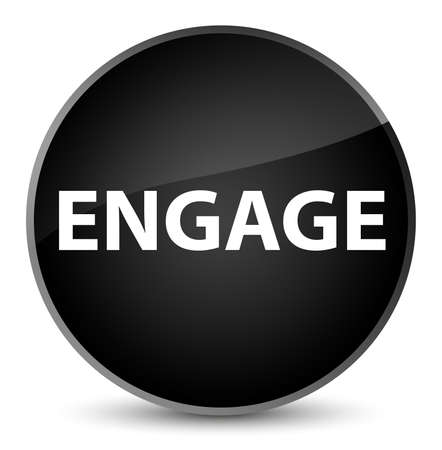 Engage isolated on elegant black round button abstract illustration Imagens