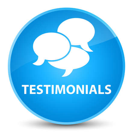 testimonials: Testimonials (comments icon) isolated on elegant cyan blue round button abstract illustration Stock Photo
