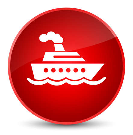 Cruise ship icon isolated on elegant red round button abstract illustration Stock Photo