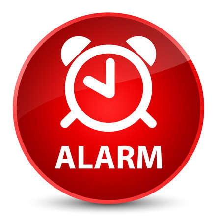 Alarm isolated on elegant red round button abstract illustration