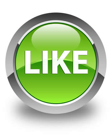 Like isolated on glossy green round button abstract illustration