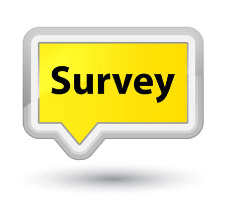 Survey isolated on prime yellow banner button abstract illustration Stock Photo