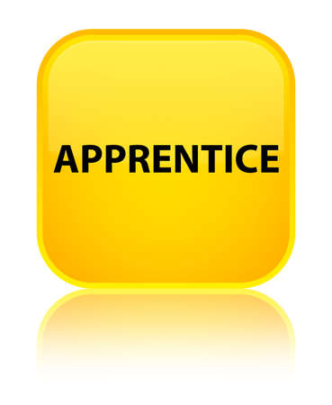 trainee: Apprentice isolated on special yellow square button reflected abstract illustration Stock Photo