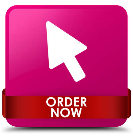 Order now isolated on pink square button with red ribbon in middle abstract illustration