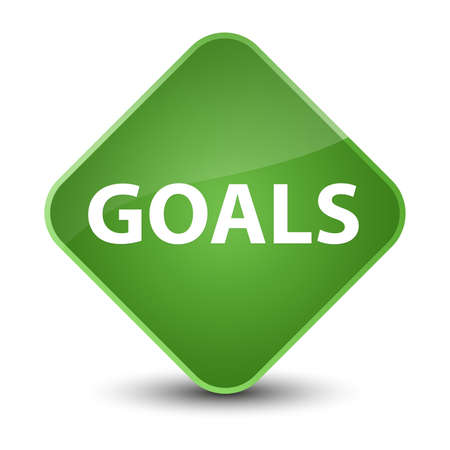 Goals isolated on elegant soft green diamond button abstract illustration Stock Photo