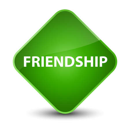 Friendship isolated on elegant green diamond button abstract illustration