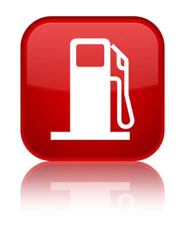Fuel dispenser icon isolated on special red square button reflected abstract illustration
