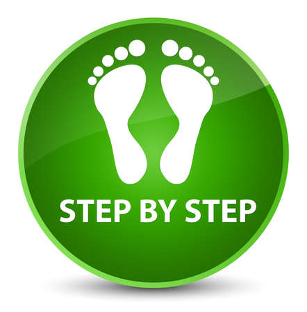 Step by step (footprint icon) isolated on elegant green round button abstract illustration