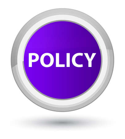 Policy isolated on prime purple round button abstract illustration