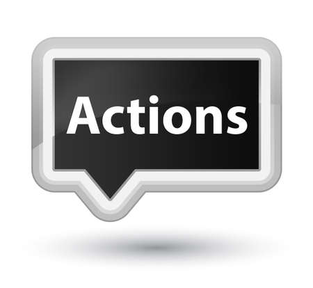 Actions isolated on prime black banner button abstract illustration Фото со стока