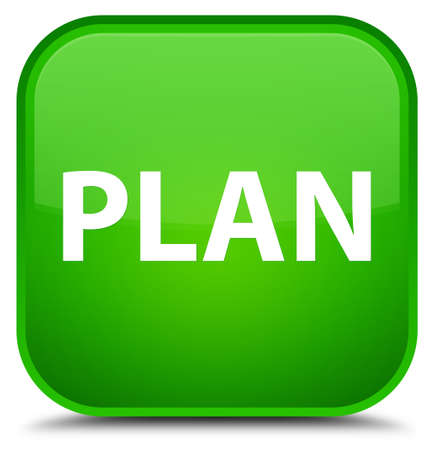 Plan isolated on special green square button abstract illustration Stock Photo