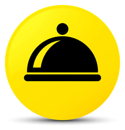 Food dish icon isolated on yellow round button abstract illustration