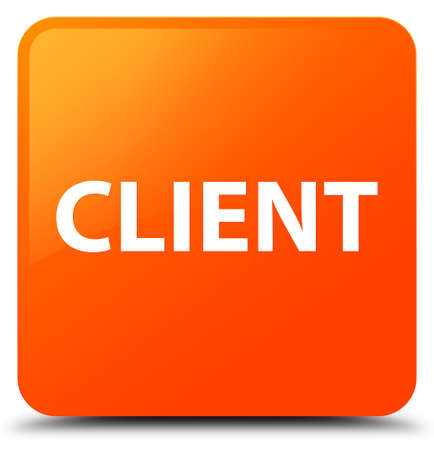 Client isolated on orange square button abstract illustration