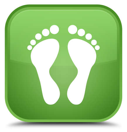 Footprint icon isolated on special soft green square button abstract illustration Stock Photo