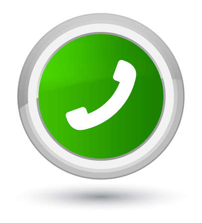 hotline: Phone icon isolated on prime green round button abstract illustration