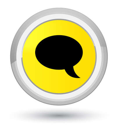 Chat icon isolated on prime yellow round button abstract illustration
