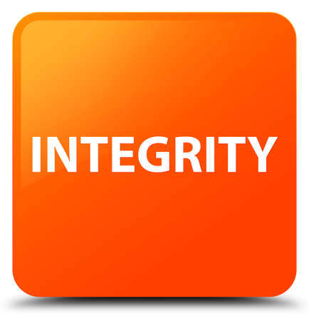 Integrity isolated on orange square button abstract illustration