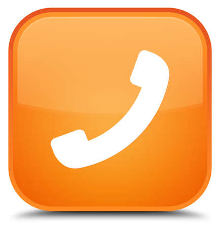 Phone icon isolated on special orange square button abstract illustration