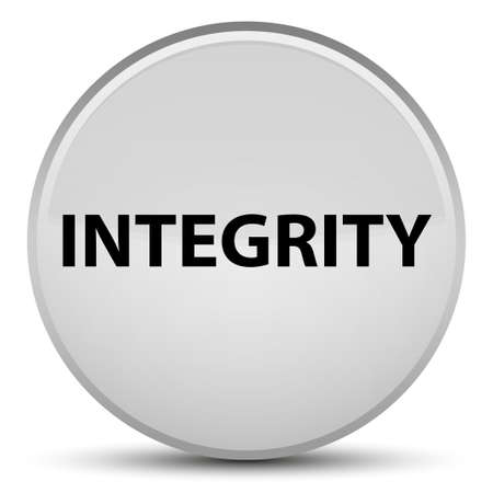 Integrity isolated on special white round button abstract illustration Stock Photo