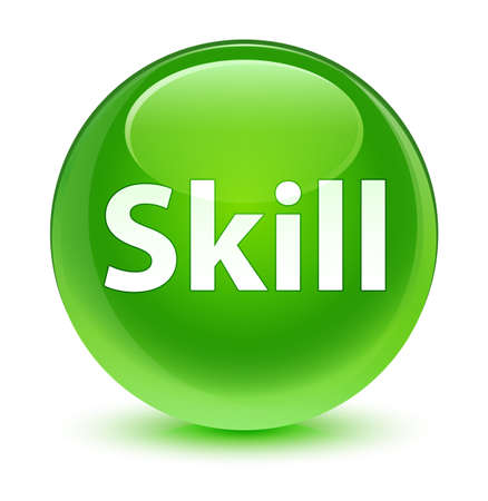 Skill isolated on glassy green round button abstract illustration Stock Photo