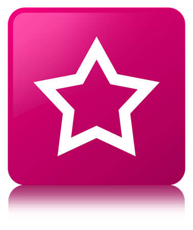 Star icon isolated on pink square button reflected abstract illustration